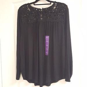 Philosophy Long Sleeve Black Lace Shirt NWT